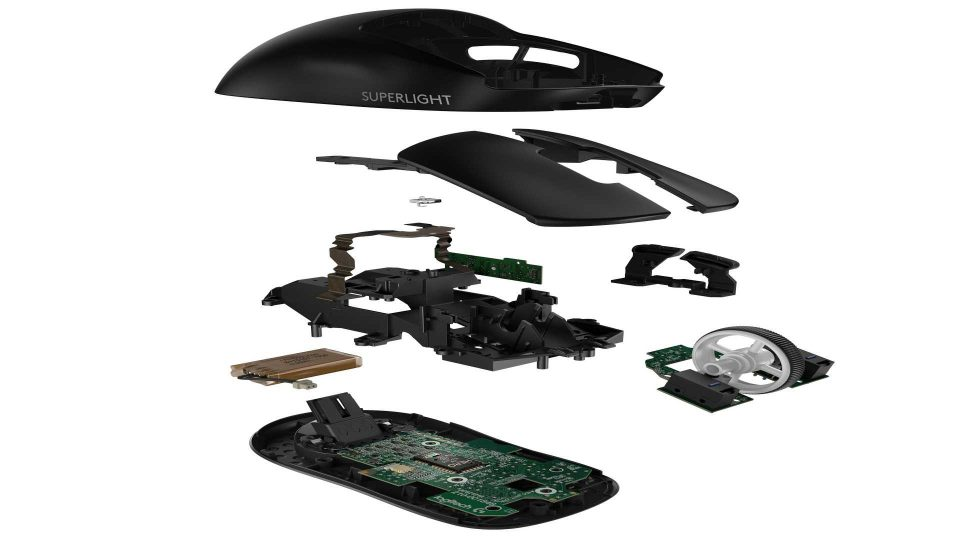High Resolution PNG PRO X SUPERLIGHT Wireless Gaming Mouse Exploded Black